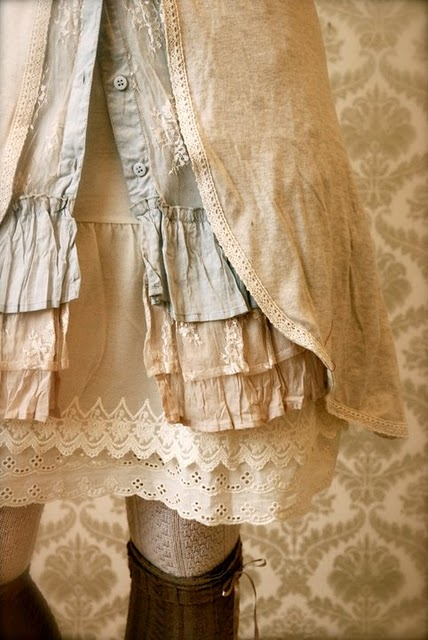 layers of vintage-looking fabric and lace